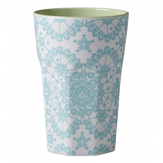 Rice Melamine Tall Cup with Lace Print - Mint