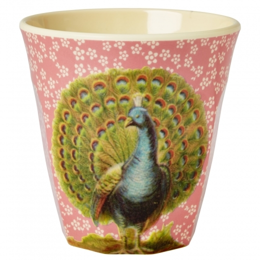 Rice Melamine Cup with Peacock Print - Pink
