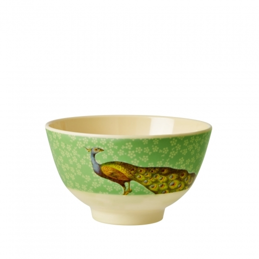 Rice Melamine Bowl with Peacock Print - Green
