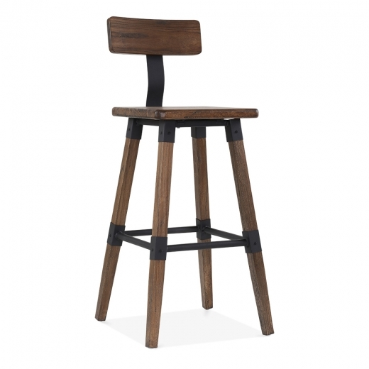 Cult Living Bastille Square Bar Stool with Backrest - Brown Wood 75cm