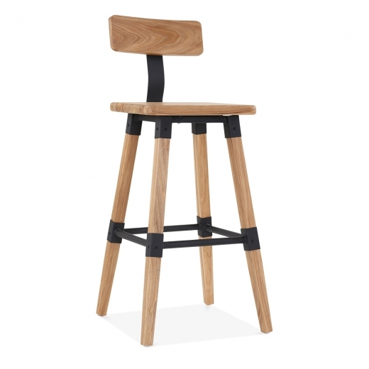 Cult Living Bastille Square Bar Stool with Backrest - Natural Wood 75cm