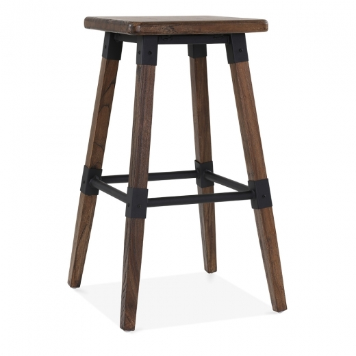 Cult Living Bastille Square High Stool - Brown Wood 75cm - Clearance Sale