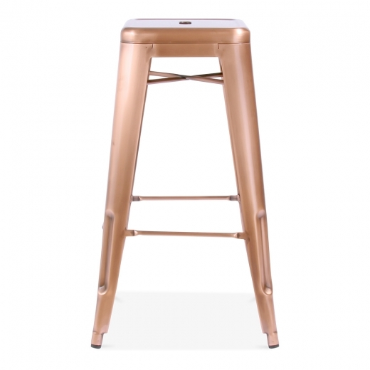 Xavier Pauchard Tolix Style Metal Bar Stool - Light Copper 75cm