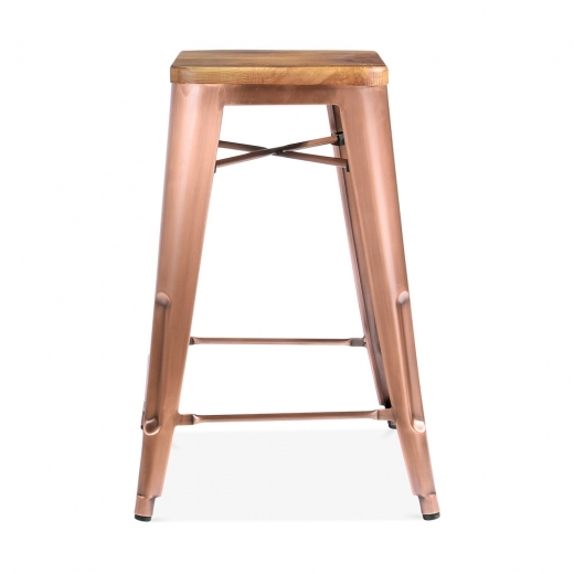 Xavier Pauchard Tolix Style Bar Stool with Natural Wood Seat - Light Copper 65cm