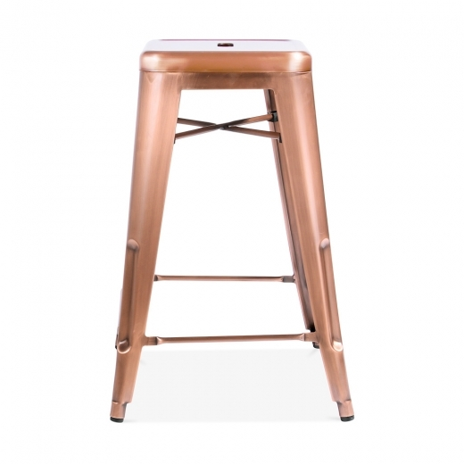 Xavier Pauchard Tolix Style Metal Bar Stool - Light Copper 65cm