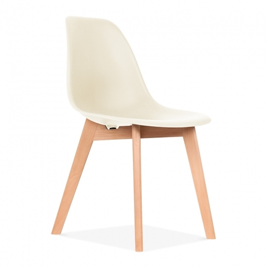 Eames Inspired DSW Dining Chair with Crossed Wood Legs - Off-White