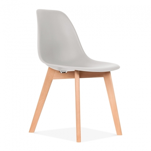 Eames Inspired DSW Dining Chair with Crossed Wood Legs - Light Grey