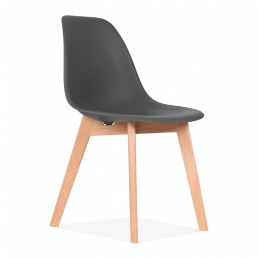 Eames Inspired DSW Dining Chair with Crossed Wood Legs - Dark Grey