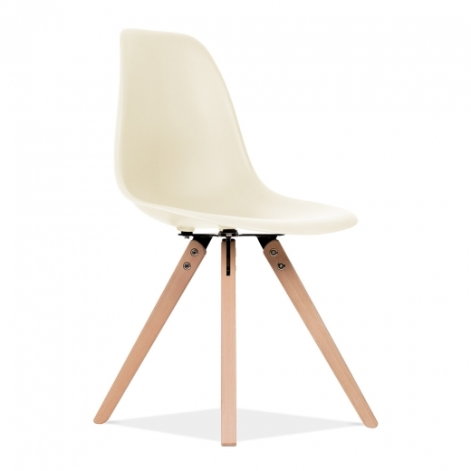Eames Inspired DSW Dining Chair with Pyramid Wood Legs - Off-White