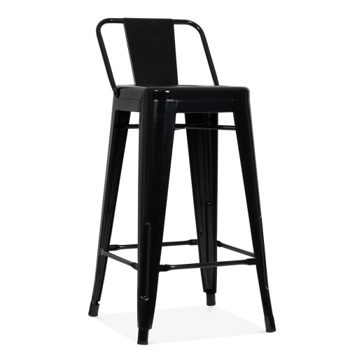 Xavier Pauchard Tolix Style Metal Bar Stool with Low Back Rest - Black 65cm