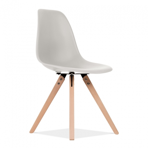 Eames Inspired DSW Dining Chair with Pyramid Wood Legs - Light Grey