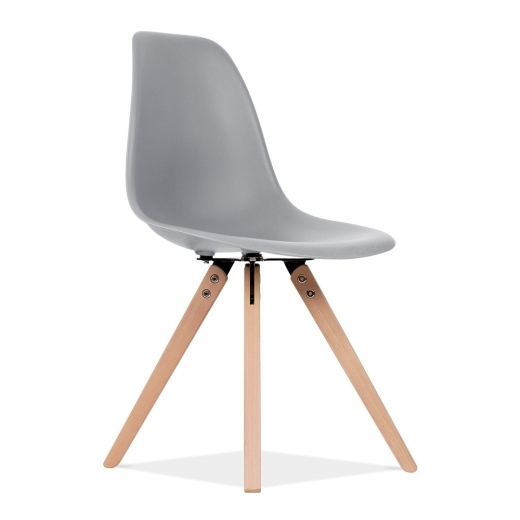 Eames Inspired DSW Dining Chair with Pyramid Wood Legs - Cool Grey