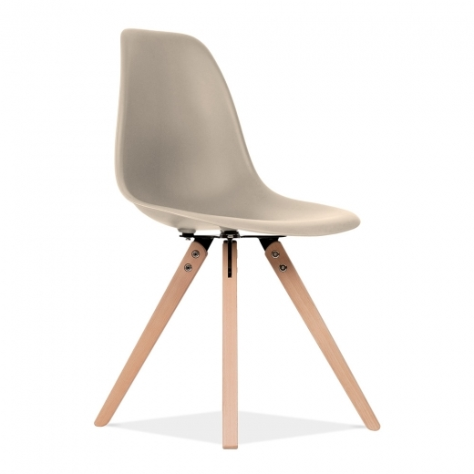 Eames Inspired DSW Style Dining Chair with Pyramid Wood Legs - Beige
