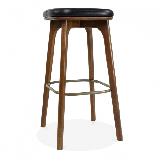 Cult Living Winchester Upholstered Solid Wood Bar Stool - Black / Walnut 75cm
