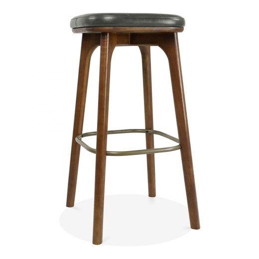 Cult Living Winchester Upholstered Solid Wood Bar Stool - Grey / Walnut 75cm