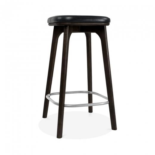 Cult Living Winchester Upholstered Solid Wood Bar Stool - Black 65cm