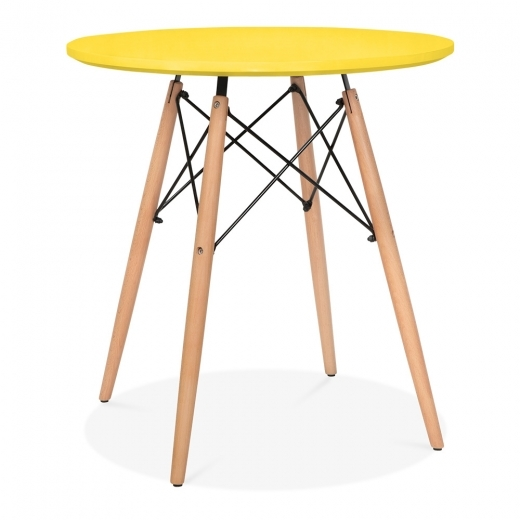 Iconic Designs Yellow DSW Dining Round Table - Diameter 70cm
