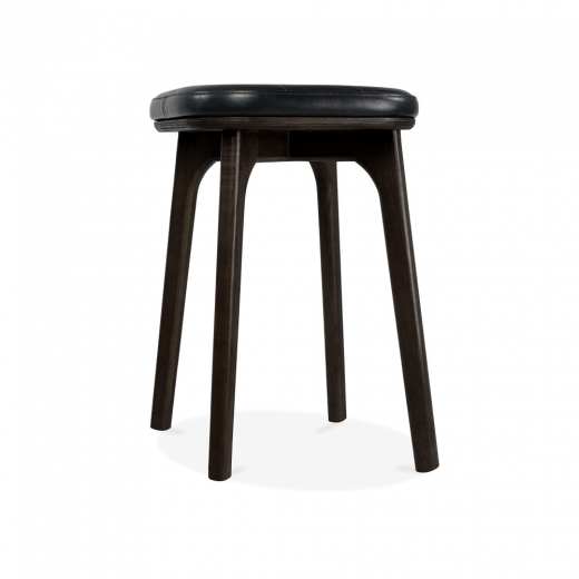 Cult Living Winchester Upholstered Solid Wood Low Stool - Black 45cm