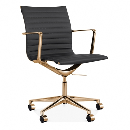 Cult Living Ribbed Office Chair with Short Back - Black / Gold