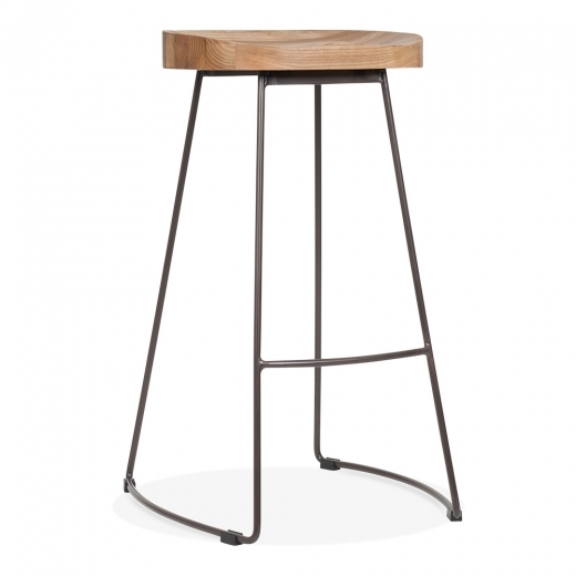 Cult Living Victoria Metal High Stool with Wood Seat Option - Rustic 75cm - Clearance Sale