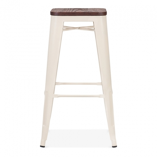 Xavier Pauchard Tolix Style Stool with Brown Wood Seat - Cream 75cm