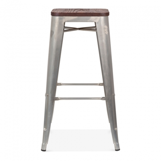 Xavier Pauchard Tolix Style Stool with Wood Seat Option - Galvanised 75cm - Clearance Sale