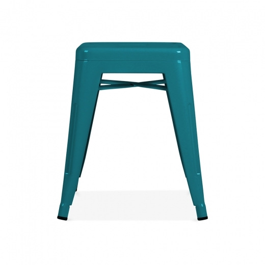 Xavier Pauchard Tolix Style Metal Low Stool - Teal 45cm