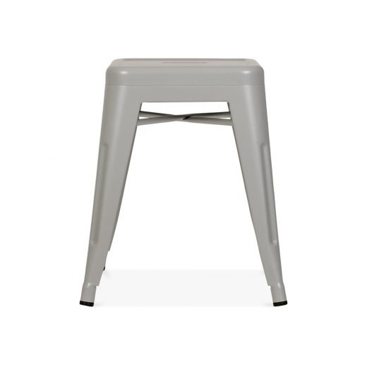 Xavier Pauchard Tolix Style Metal Low Stool - Cool Grey 45cm