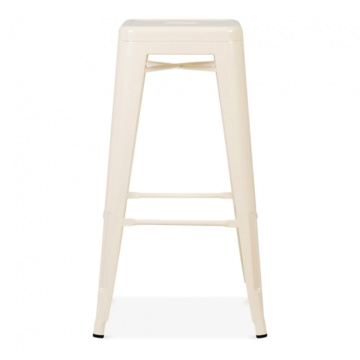Xavier Pauchard Tolix Style Metal Stool - Cream 75cm