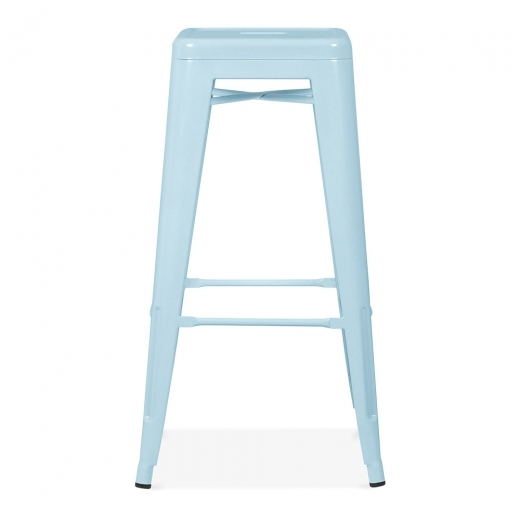 Xavier Pauchard Tolix Style Metal Stool - Pastel Blue 75cm - Clearance Sale