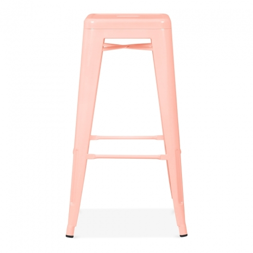 Xavier Pauchard Tolix Style Stool Powder Coated - Pastel Pink 75cm