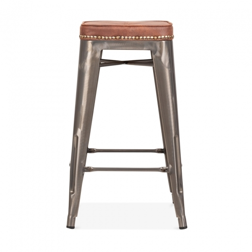 Xavier Pauchard Tolix Style Bar Stool with Cushion Colour Option - Gunmetal 65cm