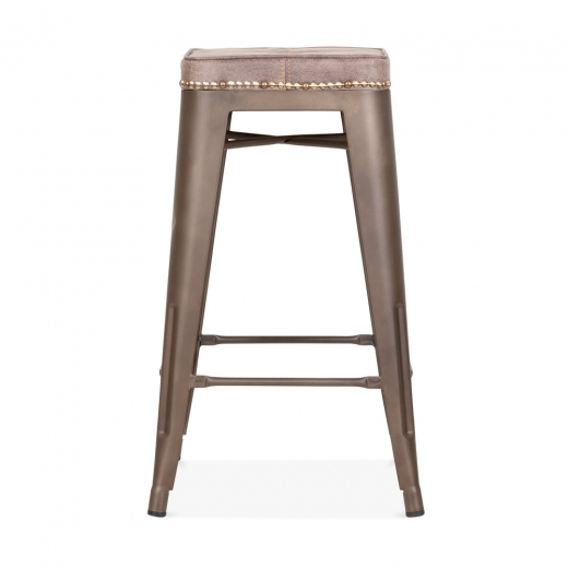 Xavier Pauchard Tolix Style Bar Stool with Cushion Colour Option - Rustic 65cm