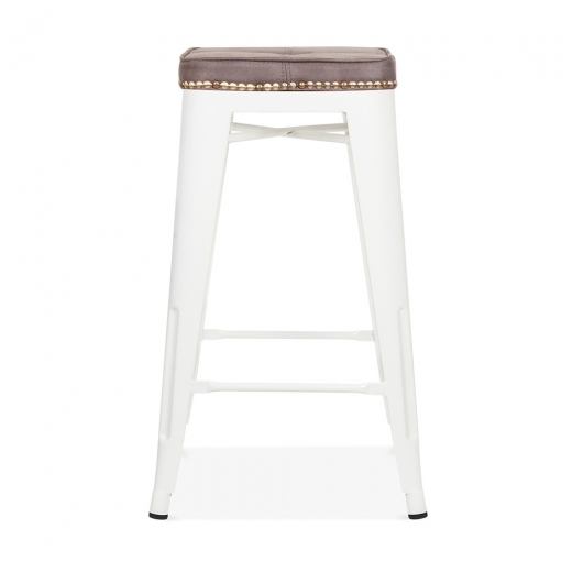 Xavier Pauchard Tolix Style Bar Stool with Cushion Colour Option - White 65cm
