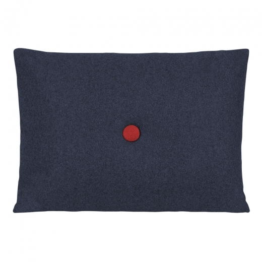 Cult Living Poet Cushion With Button - Dark Blue with Red Button