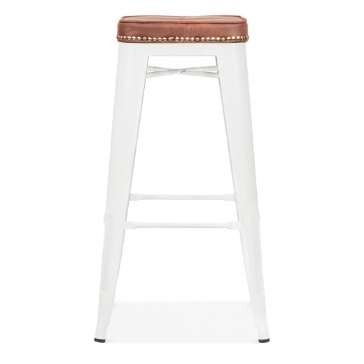 Xavier Pauchard Tolix Style Bar Stool with Cushion Colour Option - White 75cm - Clearance Sale