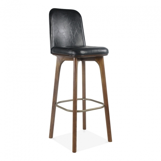 Cult Living Winchester Leather Upholstered Bar Stool with Back Rest - Black 75cm