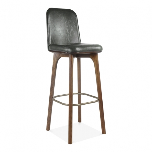 Cult Living Winchester Leather Upholstered Bar Stool with Back Rest - Grey 75cm