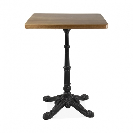 Cult Living Regent Square Cafe Table, Solid Beech Wood & Iron, Brown