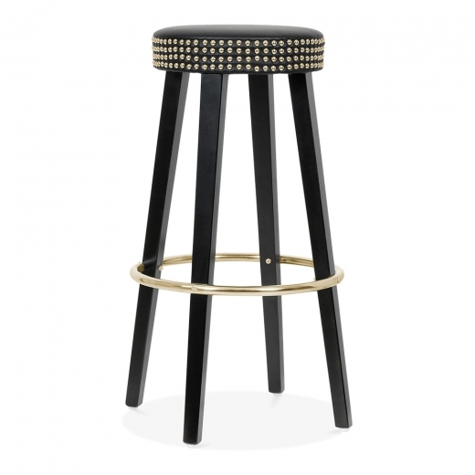 Cult Living Franklin Wooden Bar Stool with Studs - Black / Gold 75cm