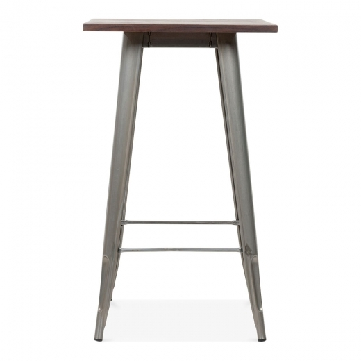 Xavier Pauchard Tolix Style Metal Bar Table with Wood Top - Gunmetal 102cm