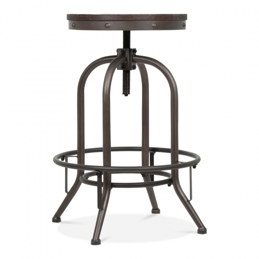 Toledo Style Trax Metal Swivel Bar Stool - Rustic 63-75cm
