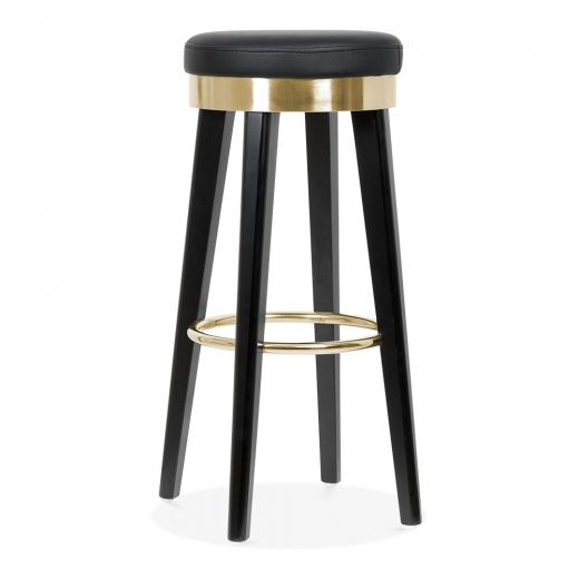 Cult Living Fusion Wooden Bar Stool with Metal Ring - Black / Gold 75cm