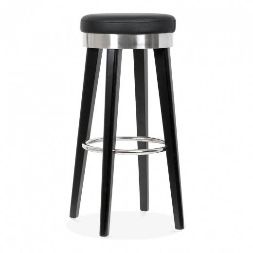 Cult Living Fusion Wooden Bar Stool with Metal Ring - Black / Chrome 75cm - Clearance Sale