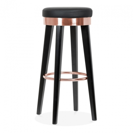 Cult Living Fusion Wooden Bar Stool with Metal Ring - Black / Copper 75cm