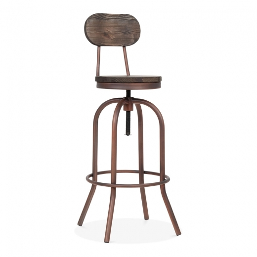 Toledo Style Florence Swivel Stool - Copper 65-86cm