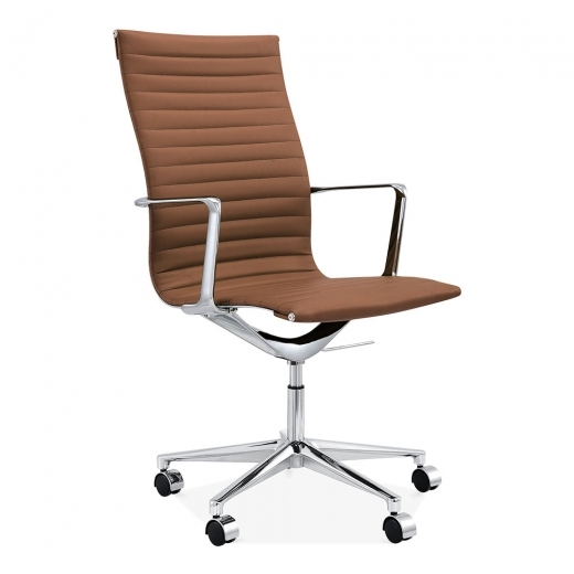 Cult Living Ribbed Office Chair with High Back - Brown