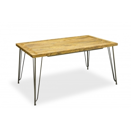 Industrial Living Hairpin Retro Dining Table, Solid Mango Wood 150cm