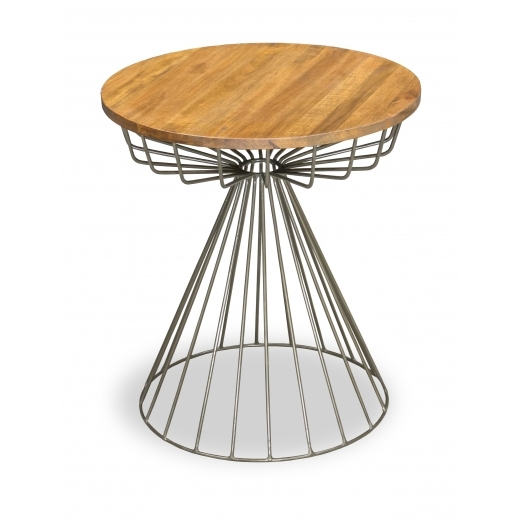 Industrial Living Birdcage Industrial Side Table, Solid Mango Wood