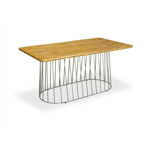 Industrial Living Birdcage Rectangular Dining Table, Solid Mango Wood 160cm